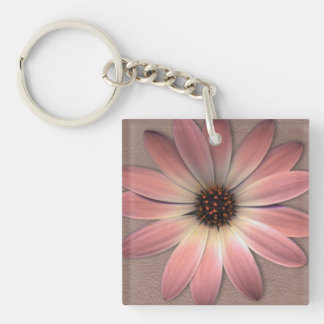 Pink Daisy on Taupe Leather Print Double-Sided Square Acrylic Keychain
