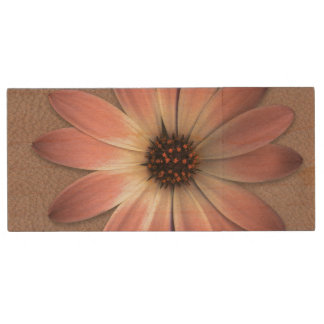 Pink Daisy on Taupe Leather Print Wood USB 2.0 Flash Drive