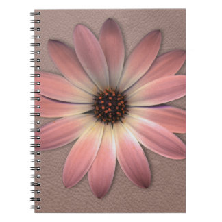 Pink Daisy on Taupe Leather Print Notebook