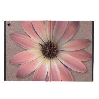 Pink Daisy on Taupe Leather Print Powis iPad Air 2 Case