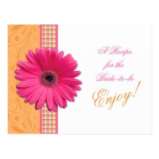 Pink Daisy Orange Bride Recipe Card Bridal Shower