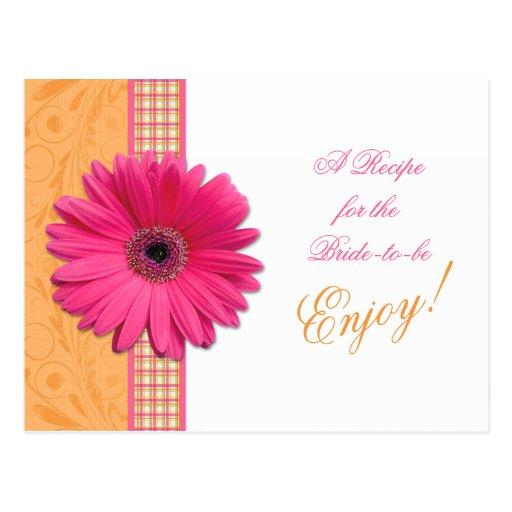 Pink Daisy Orange Bride Recipe Card Bridal Shower Post Card