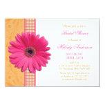 Pink Daisy Orange Plaid Recipe Bridal Shower Card