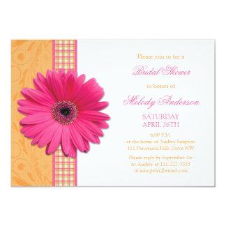 Pink Daisy Orange Plaid Recipe Bridal Shower 4.5x6.25 Paper Invitation Card