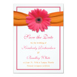 Pink Daisy Orange Ribbon Wedding Save the Date Card