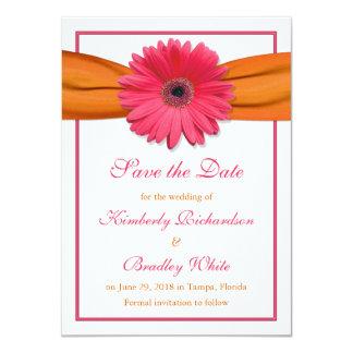 Pink Daisy Orange Ribbon Wedding Save the Date Personalized Invitation