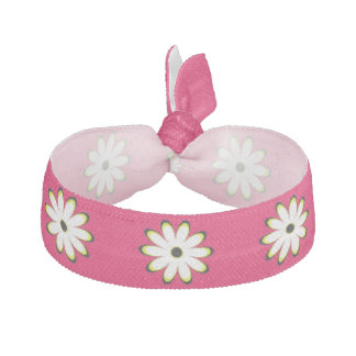 Pink Daisy Pattern Hair Tie