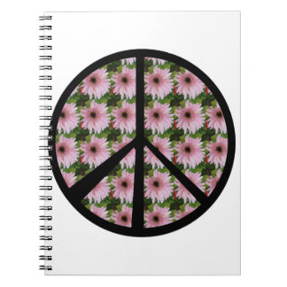 Pink Daisy Peace Sign Spiral Notebook