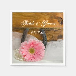 Pink Daisy, Pearls and Horseshoe Western Wedding Napkin