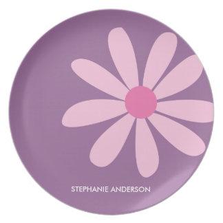 Pink Daisy Personalized Designer Dinnerware/Plate