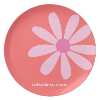 Pink Daisy Personalized Designer Dinnerware/Plate Melamine Plate