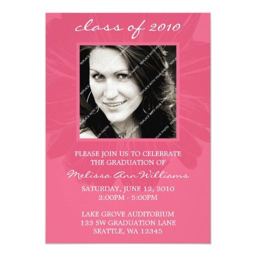 Pink Daisy Photo Graduation Announcement