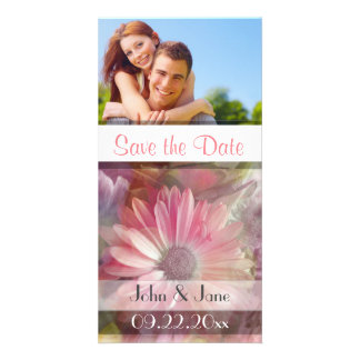 """Pink Daisy /photo  """"Save the Date"""" Photo Card"""