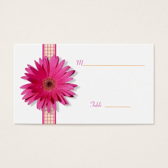 Pink Daisy Plaid Special Occasion Place Card