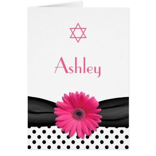 Pink Daisy Polka Dot Bat Mitzvah Thank You Card