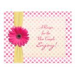 Pink Daisy Polka Dot Recipe Card for new couple Postcard