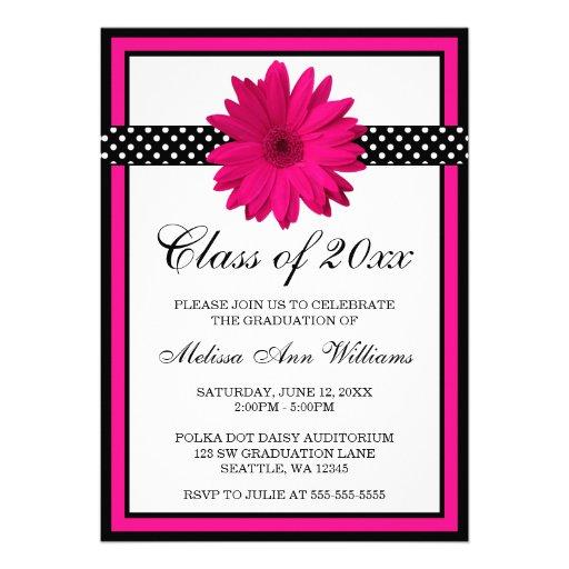 Pink Daisy Polka Dots Graduation Announcement