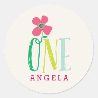 Pink Daisy Pop One Girl 1st Birthday Party Sticker