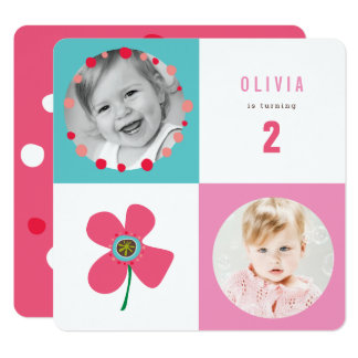 Pink Daisy Pop Squares Girl Birthday Photo Invite