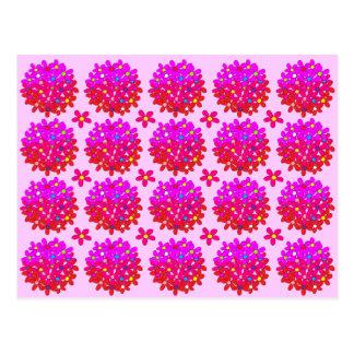 Pink Daisy Puffs Postcard
