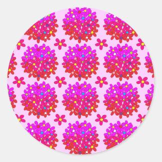 Pink Daisy Puffs Classic Round Sticker