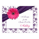 Pink Daisy Purple Damask Recipe Card for the Bride Post Cards