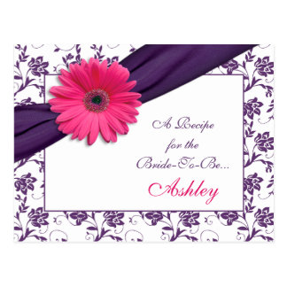 Pink Daisy Purple Damask Recipe Card for the Bride Postcard