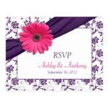 Pink Daisy Purple Damask Wedding RSVP Postcard
