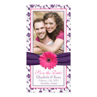 Pink Daisy Purple Floral Ribbon Wedding Save Date Photo Card