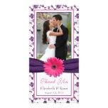Pink Daisy Purple Floral Ribbon Wedding Thank You Photo Card