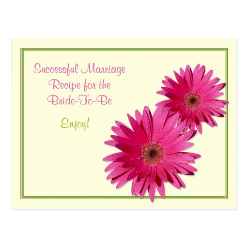 Pink Daisy Recipe Card for a Successful Marriage Postcard