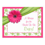 Pink Daisy Recipe Card for the Bride to Be Postcards