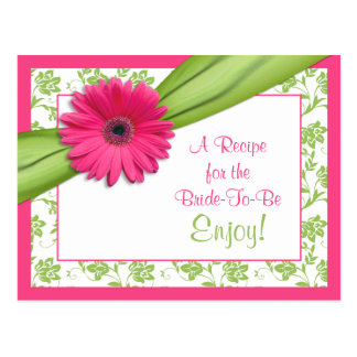Pink Daisy Recipe Card for the Bride to Be Postcard