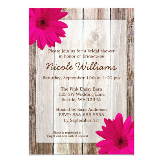 Pink Daisy Rustic Barn Wood Bridal Shower 5x7 Paper Invitation Card