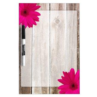 Pink Daisy Rustic Barn Wood Dry-Erase Board