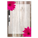 Pink Daisy Rustic Barn Wood Dry Erase Whiteboards