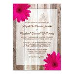 Pink Daisy Rustic Barn Wood Wedding 5x7 Paper Invitation Card
