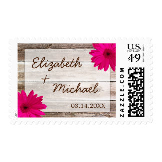 Pink Daisy Rustic Barn Wood Wedding Stamps