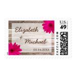 Pink Daisy Rustic Barn Wood Wedding Postage Stamp