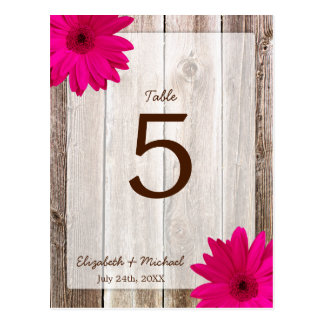 Pink Daisy Rustic Barn Wood Wedding Table Number Postcard