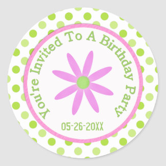 Pink Daisy: Save The Date Sticker