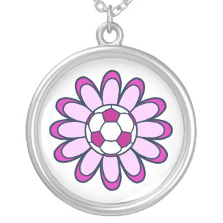 Pink Daisy Soccer Girl Silver Plated Necklace