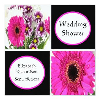 Pink Daisy Squares Wedding Shower Invitations