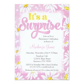 Pink Daisy Surprise Retirement Party Invitation