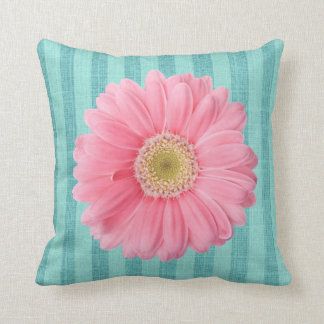 Pink Daisy Teal Stripe Floral Throw Pillow