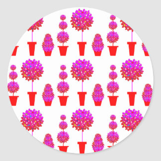 Pink Daisy Topiary Classic Round Sticker