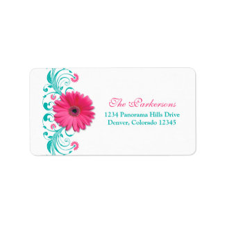Pink Daisy Turquoise Floral Wedding Address Label