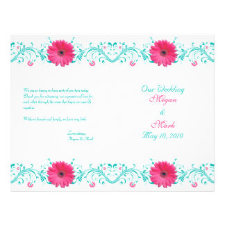 Pink Daisy Turquoise Floral Wedding Program
