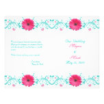 """Pink Daisy Turquoise Floral Wedding Program 8.5"""" X 11"""" Flyer"""
