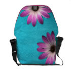 Pink Daisy-Turquoise Leather Texture RickshawBag Messenger Bag